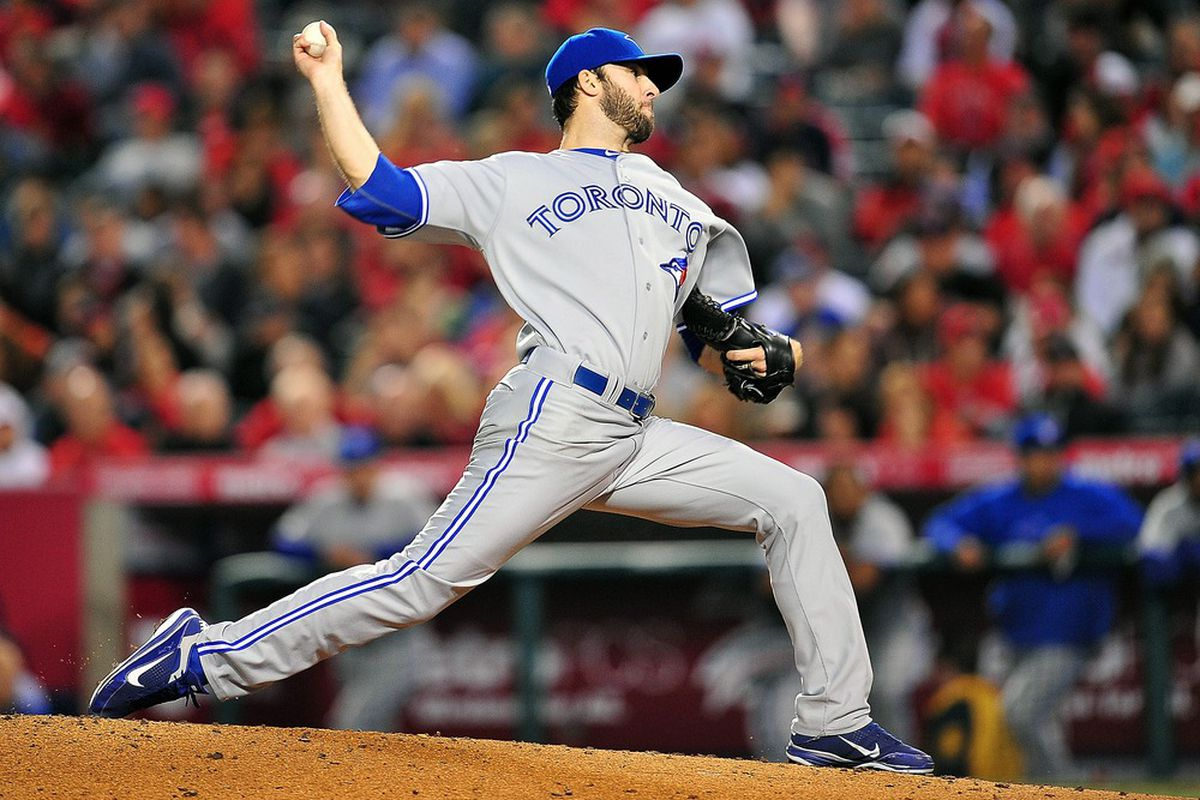 May 3, 2012; Anaheim, CA, USA; Toronto Blue Jays starting pitcher Brandon Morrow (23) pitches in the fourth inning against the Los Angeles Angels at Angel Stadium. Mandatory Credit: Gary A. Vasquez-US PRESSWIRE