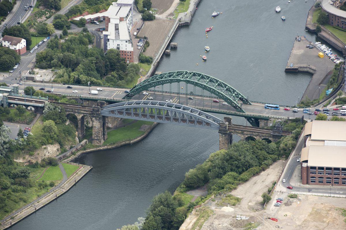 Monkwearmouth Railway Bridge And Wearmouth Bridge
