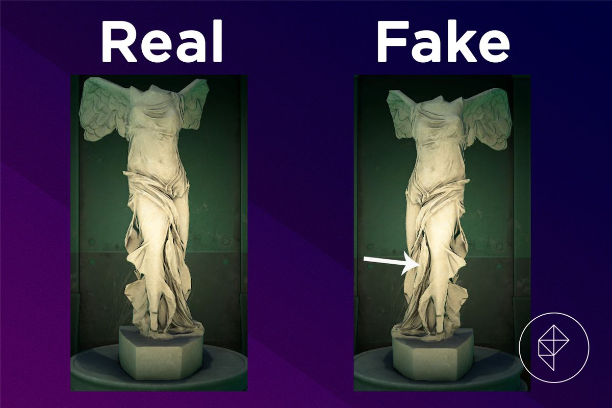 A comparison between the real and fake Valiant Statue