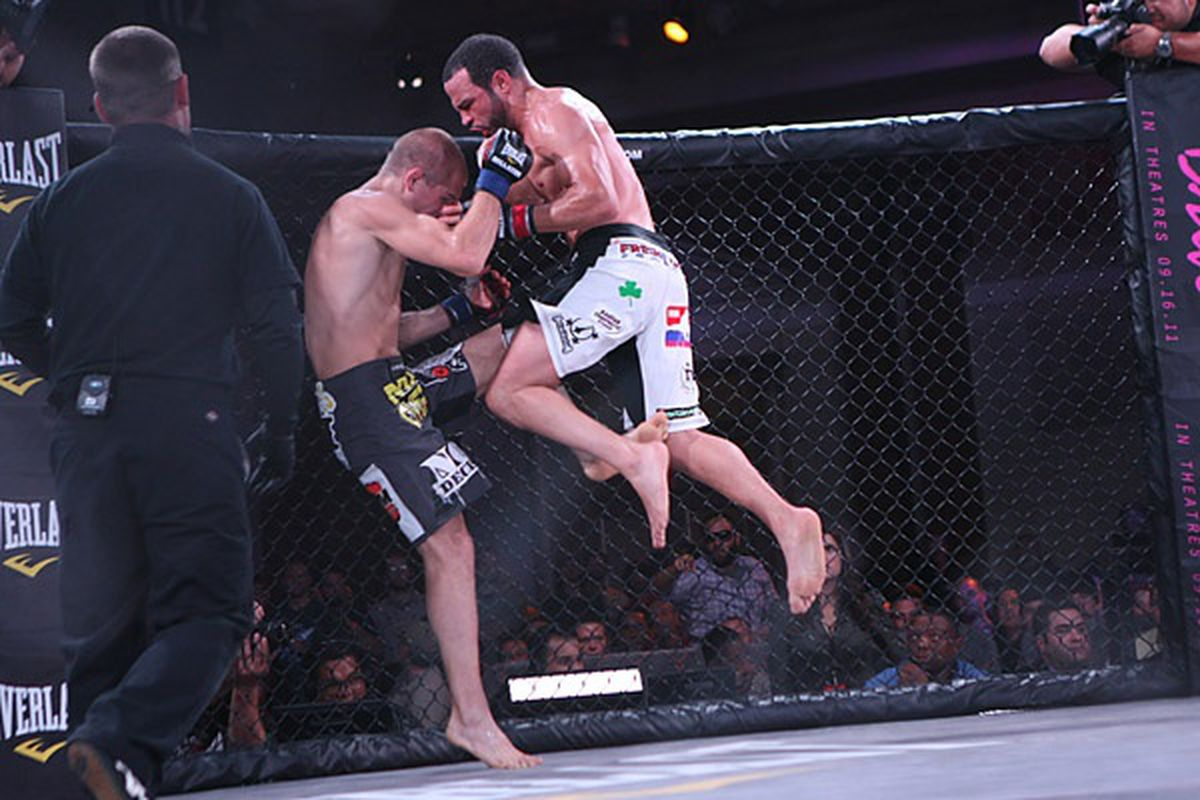 Chris Lozano rallied to defeat Brent Weedman via unanimous decision in the main event of Bellator 49 and move onto the promotion's welterweight tournament semifinals. (Photo by Keith Mills via Sherdog.com)