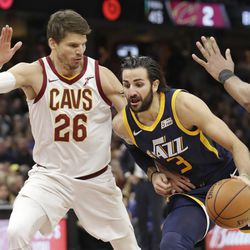Utah Jazz's Ricky Rubio (3), from Spain, drives against Cleveland Cavaliers' Kyle Korver (26) in the first half of an NBA basketball game, Saturday, Dec. 16, 2017, in Cleveland. (AP Photo/Tony Dejak)