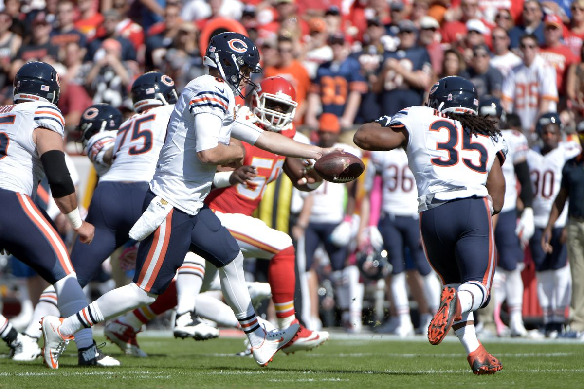 Cutler hands the ball off to Rodgers as Chicago surprises Kansas City at KC last season