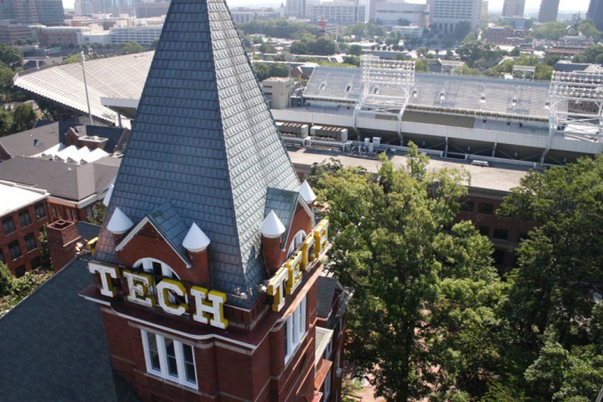 Tech tower with Bobby Dodd Stadium behind.