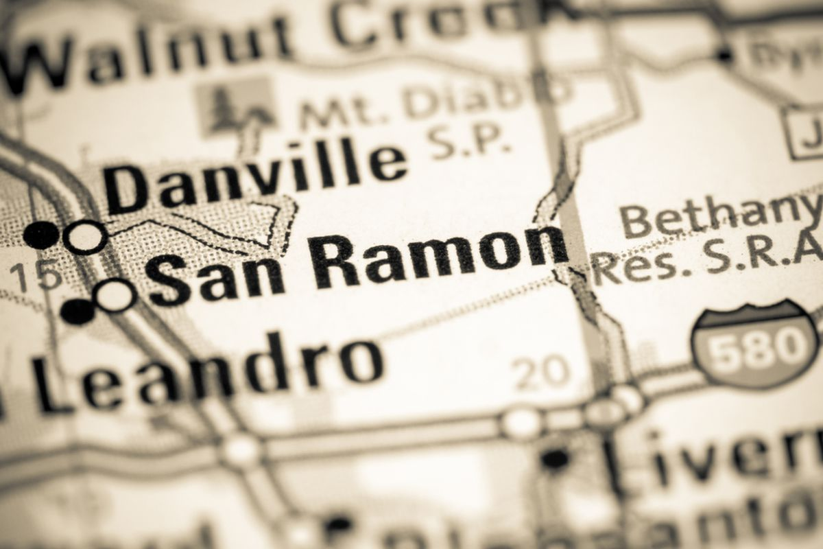 A map showing where San Ramon is in California.