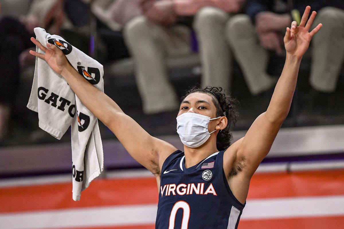 Virginia Cavaliers guard Kihei Clark celebrates after a Cavaliers basket against the Clemson Tigers during the second half at Littlejohn Coliseum.