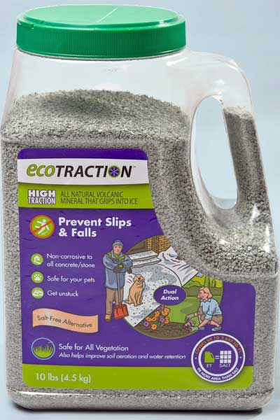 EcoTraction volcanic-mineral granules to prevent icy sidewalks.