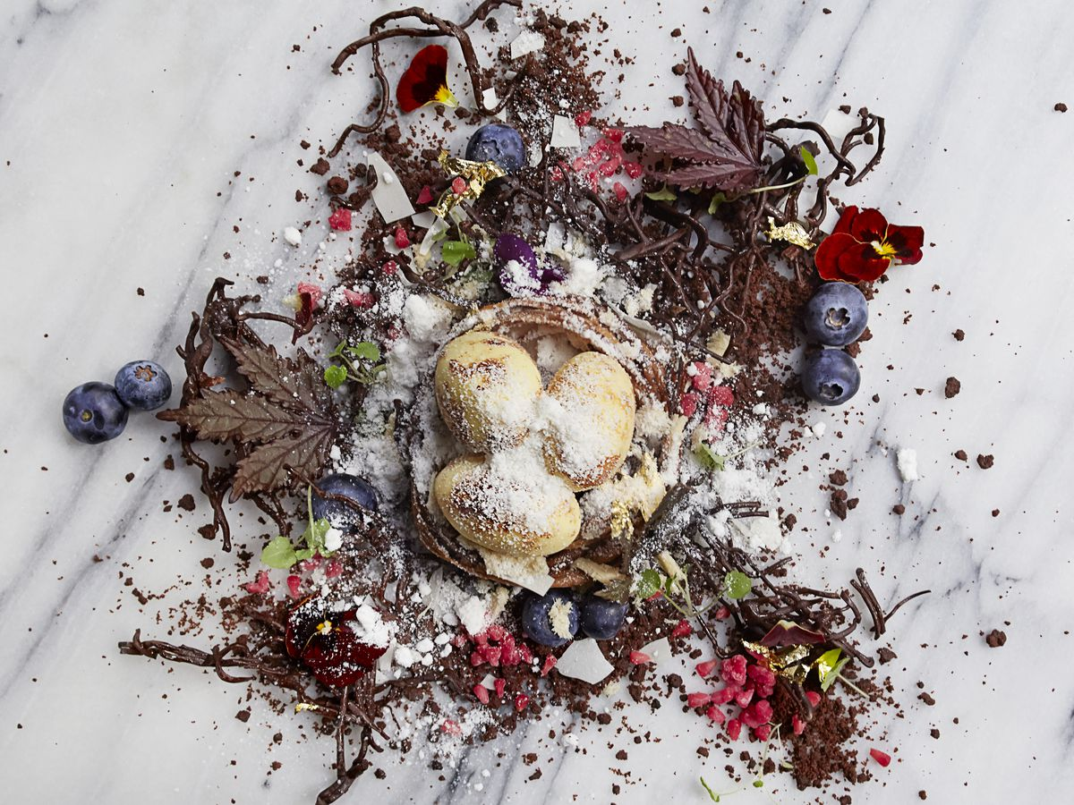 A colorful dessert of brownie dirt, raspberries and blueberries, shredded halvah, chocolate twigs, and a honey nest scattered on a white table