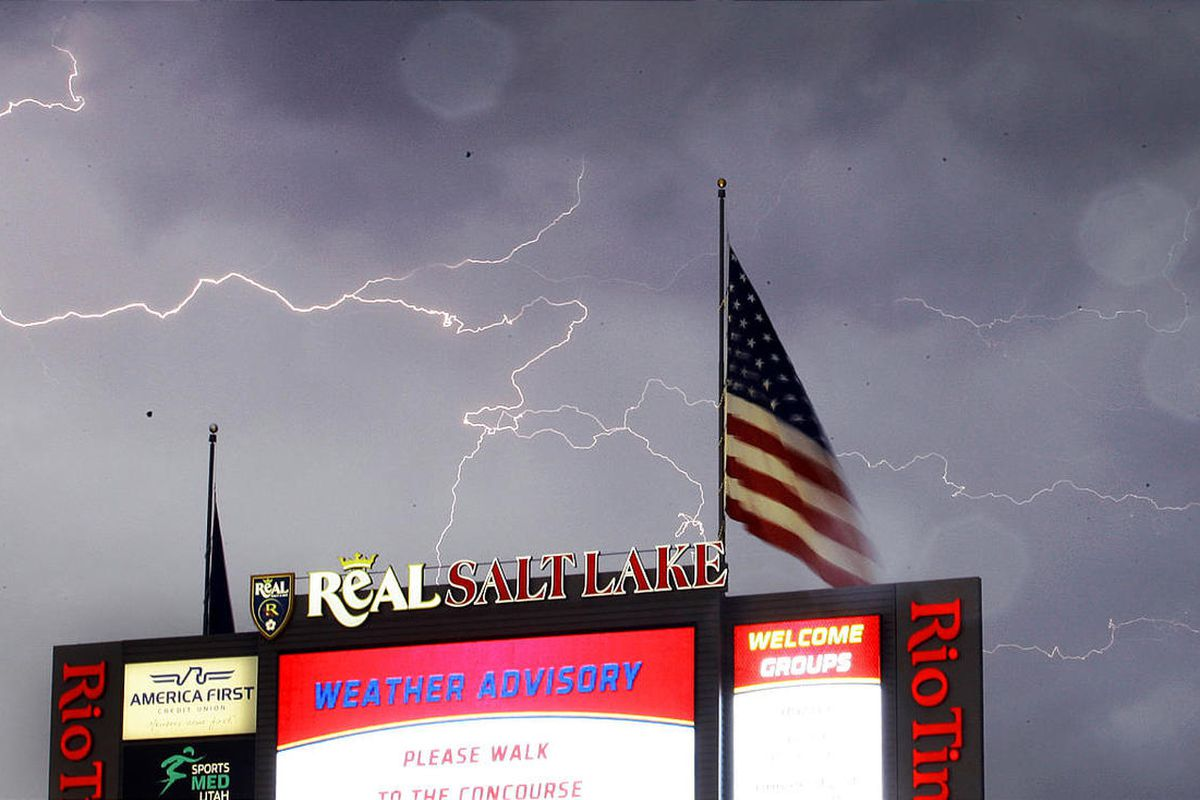 After only 3 minutes of play, the of Real Salt Lake vs DC United game was suspended due to the threat of lightning at Rio Tinto Stadium in Sandy Saturday, September 1, 2012