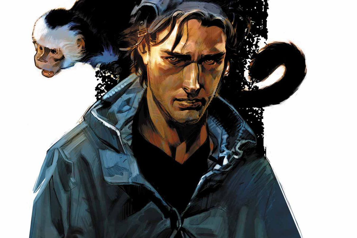 Yorick Brown and Ampersand the monkey on the cover of an issue of Y: The Last Man.