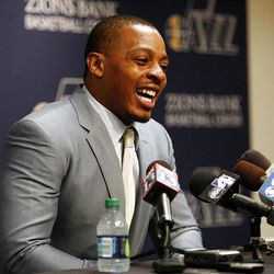 Randy Foye is introduced as the new Utah Jazz guard during a press conference at the Zions Bank Basketball Center in Salt Lake City on Thursday, July  26, 2012.