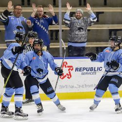 Buffalo Beauts forward Taylor Accursi, her line mates, and a group of fans all celebrate a goal during a NWHL game versus the Boston Pride at HarborCenter in Buffalo, NY on Nov. 11th, 2017.