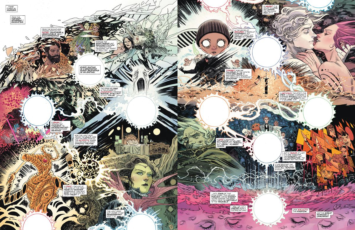 The double vertical gatefold pages of The Dreaming #20, chopped in two and displayed side by side, as they are in the digital edition of the comic. DC Comics (2020).