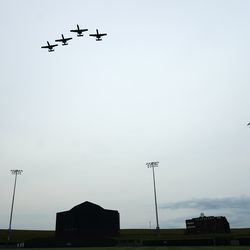 A-10 aircraft conduct a flyover before a baseball game between the New York Yankees and Chicago White Sox, Thursday, Aug. 12, 2021 in Dyersville, Iowa. The Yankees and White Sox are playing at a temporary stadium in the middle of a cornfield at the Field of Dreams movie site, the first Major League Baseball game held in Iowa.