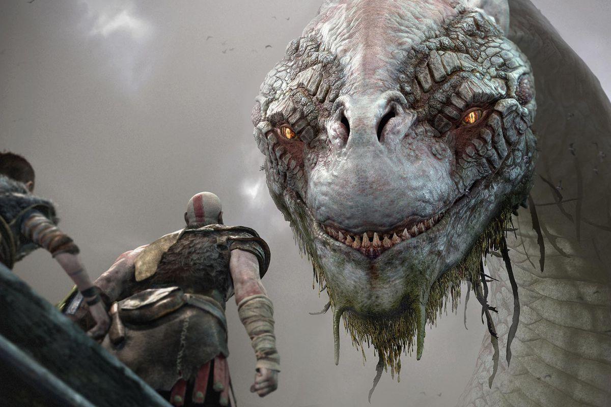 God of War - Atreus and Kratos speak with the World Serpent