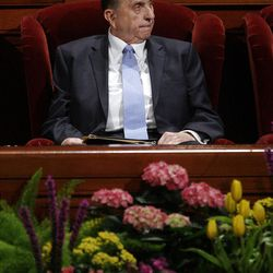 President Thomas S. Monson listens during the 182nd Annual General Conference for The Church of Jesus Christ of Latter-day Saints in Salt Lake City  Sunday, April 1, 2012.