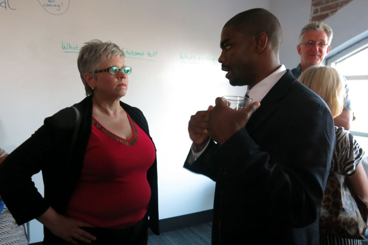 Chalkbeat TN Bureau Chief Daarel Burnette II talks education issues with Teresa Wasson, who is with SCORE, which stands for State Collaborative on Reforming Education.