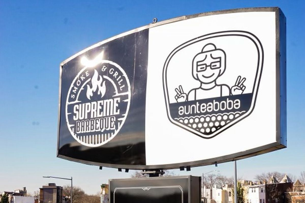 The dual sign for Supreme Barbecue x Auntea Boba