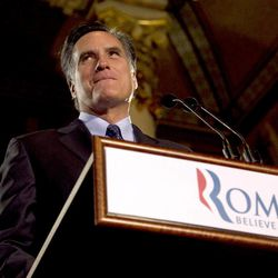Republican presidential candidate, former Massachusetts Gov. Mitt Romney pauses while speaking at a primary election night rally in Milwaukee, Tuesday, April 3, 2012, after he won the Wisconsin Republican presidential primary.