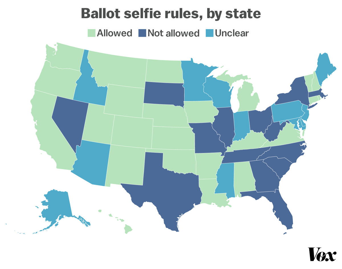 A US map shows which states allow voters to take ballot selfies, as indicated by green, navy, and light-blue shading