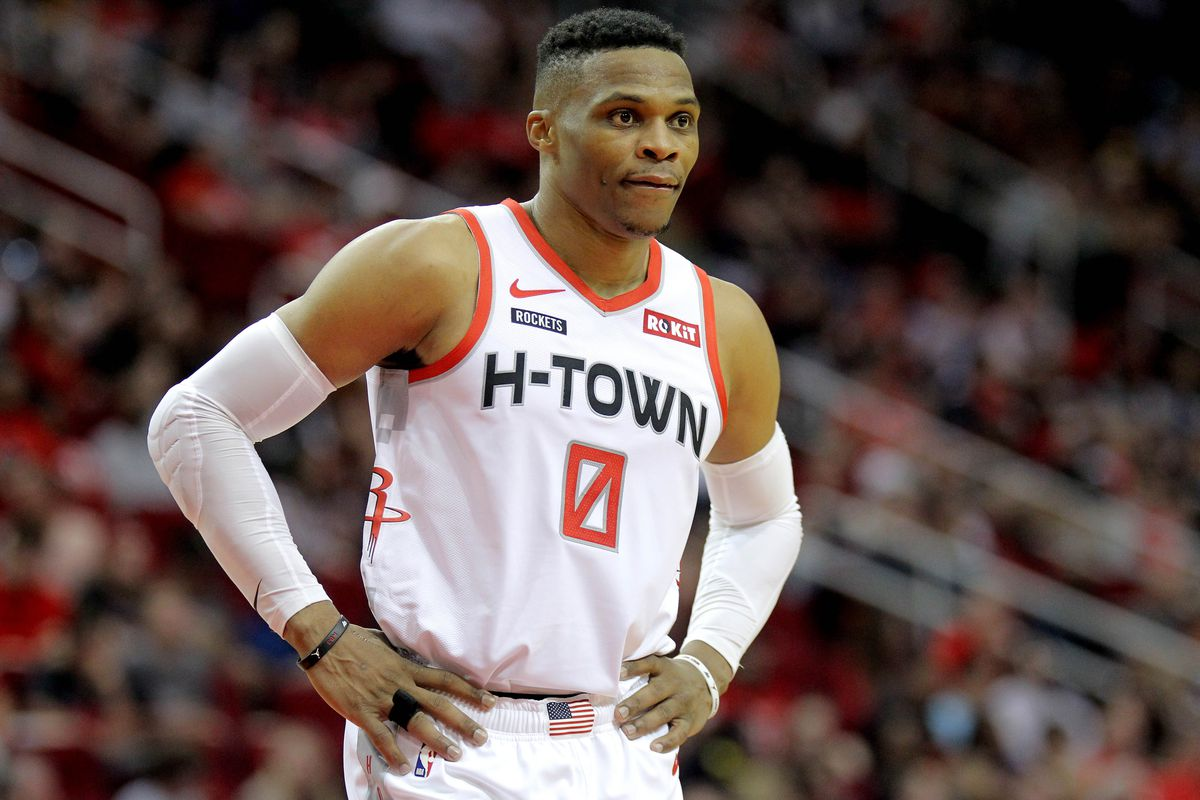 Houston Rockets guard Russell Westbrook during the game against the Atlanta Hawks at Toyota Center.