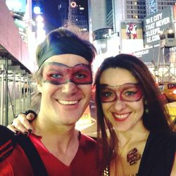 """After six hours of painting kids, I headed downtown for private Halloween makeup appointments. First stop was Devrin and Jane Carlson-Smith. They host a 1,000 guest party each year called Halloween Bling. Their costumes were """"NYC Ninjas"""" and asked for sim"""