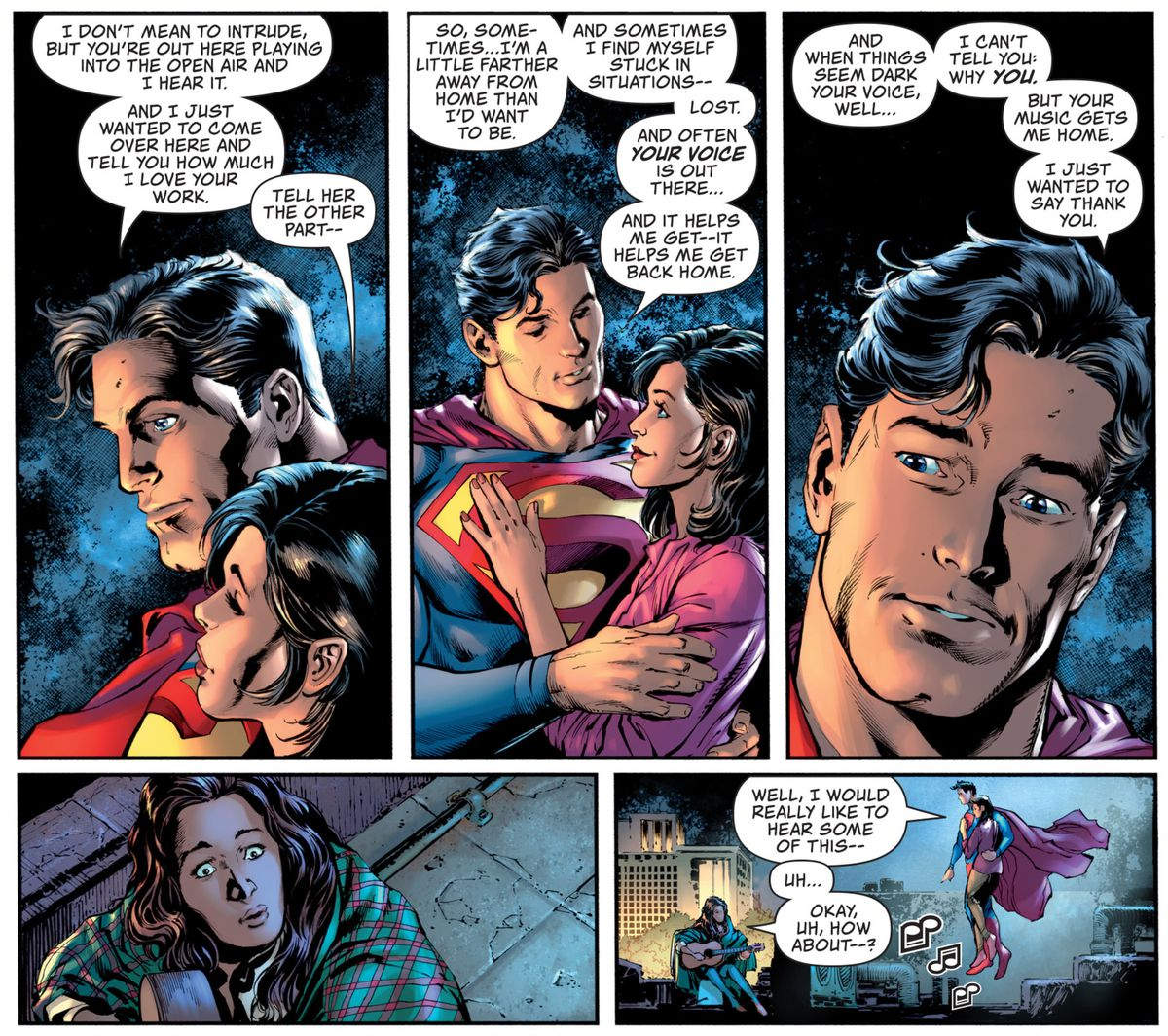"Superman and Lois Lane visit a woman playing guitar on her Metropolis rooftop. Superman tells her that he can often hear her with his super hearing, and that her playing has helped him. ""Sometimes I find myself stuck in situations — lost. And often your voice is out there... and it helps me get — it helps me get back home,"" in Superman #28, DC Comics (2020)."