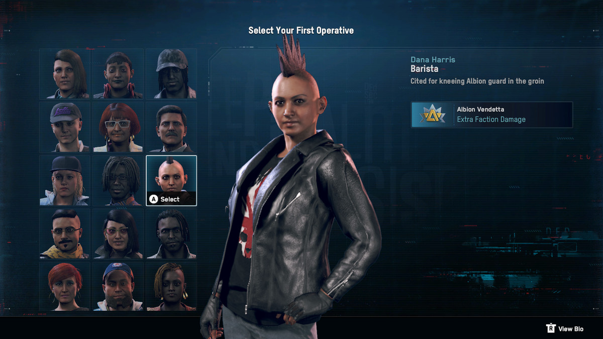 DedSec agent select Watch Dogs: Legion