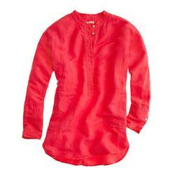 """<a href=""""http://www.jcrew.com/womens_category/shirtsandtops/casualshirts/PRDOVR~62497/99102630378/ENE~1+2+3+22+4294967294+20~~~20+17+4294961903~90~~~~~~~/62497.jsp"""">Silk-linen henley tunic</a>, $41.99 (was $135)"""