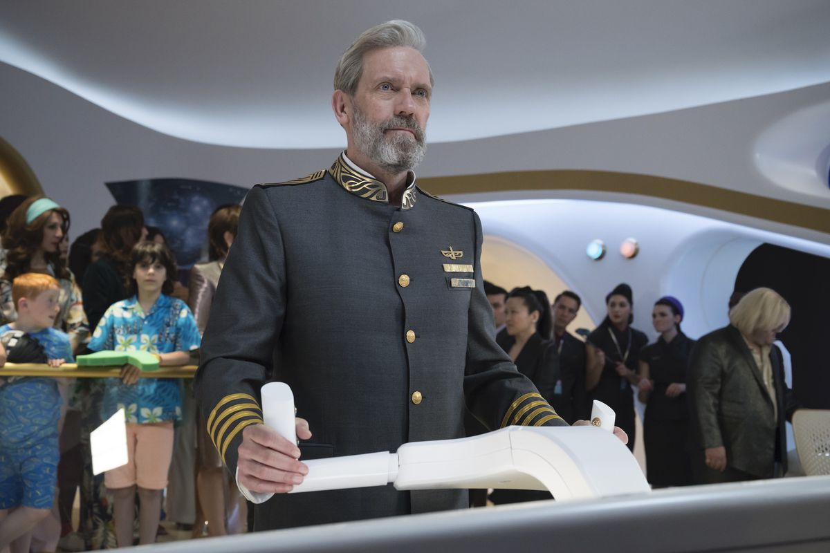 """Hugh Laurie plays the captain of a cruise ship in space on """"Avenue 5."""""""