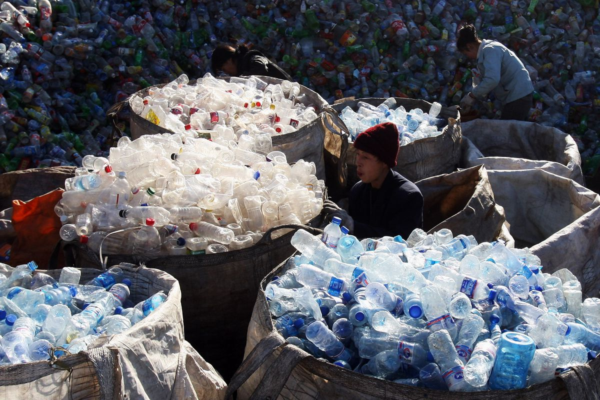 piles of plastic at a recycling center