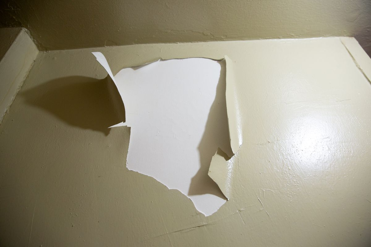 Eleanore Bumpurs says paint has been peeling in her Bronx NYCHA apartment, Jan. 19, 2021.