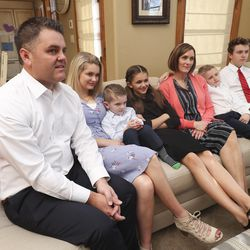 Tyler and Sheree Godfrey watch the 190th Annual General Conference of The Church of Jesus Christ of Latter-day Saints with their children Maddy, Boston, Gracie, Noah and T.J. from their home in Holladay on Saturday, April 4, 2020.