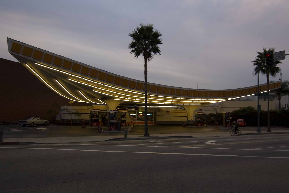 76 Station in Beverly Hills at dusk