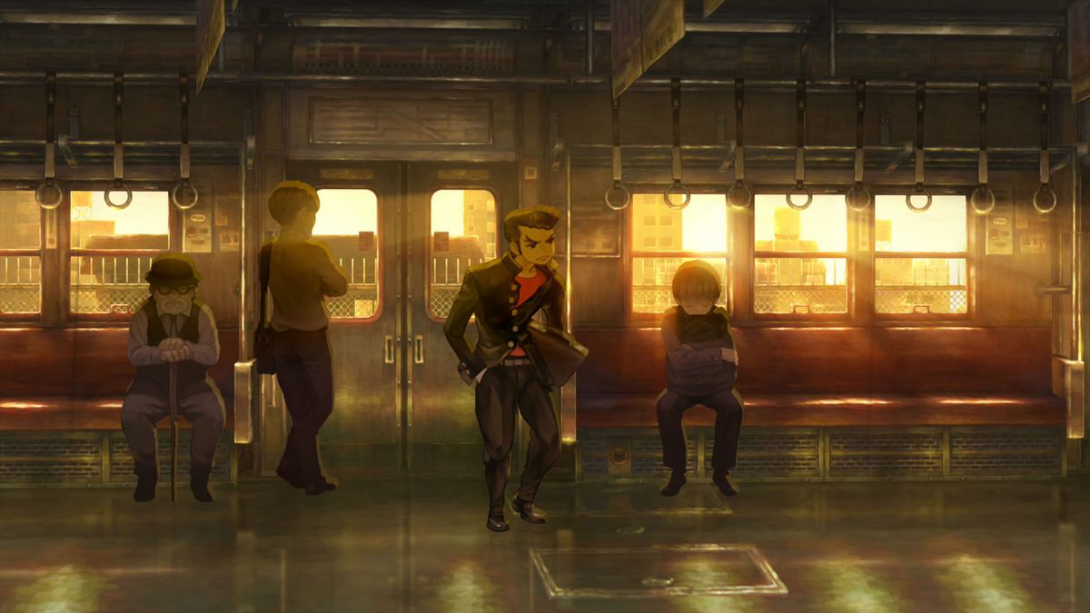 Screenshot from 13 Sentinels: Aegis Rim. Ogata stands on the train after it has left the station.