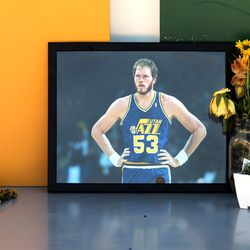 A small memorial of former Jazz center Mark Eaton sits on the Jazz note in front of Vivint Arena as the Utah Jazz and the Memphis Grizzlies prepare to play in Game 5of an NBA basketball first-round playoff seriesat Vivint Arena in Salt Lake City on Wednesday, June 2, 2021.