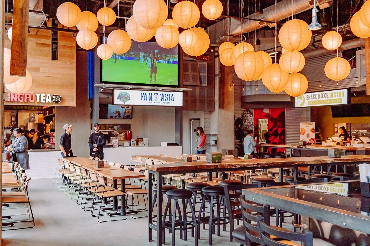 The inside of Ph'east food hall at Battery Atlanta