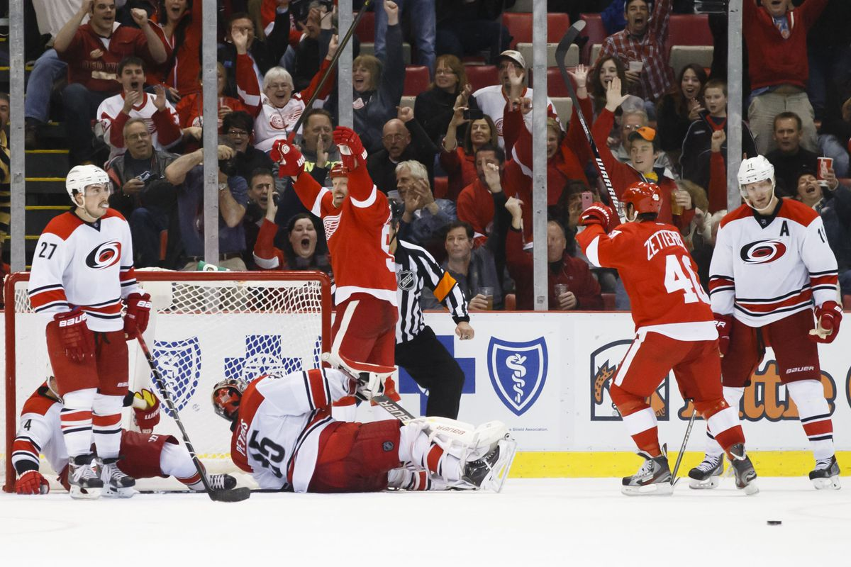 The Red Wings score a key goal against Carolina on Thursday night