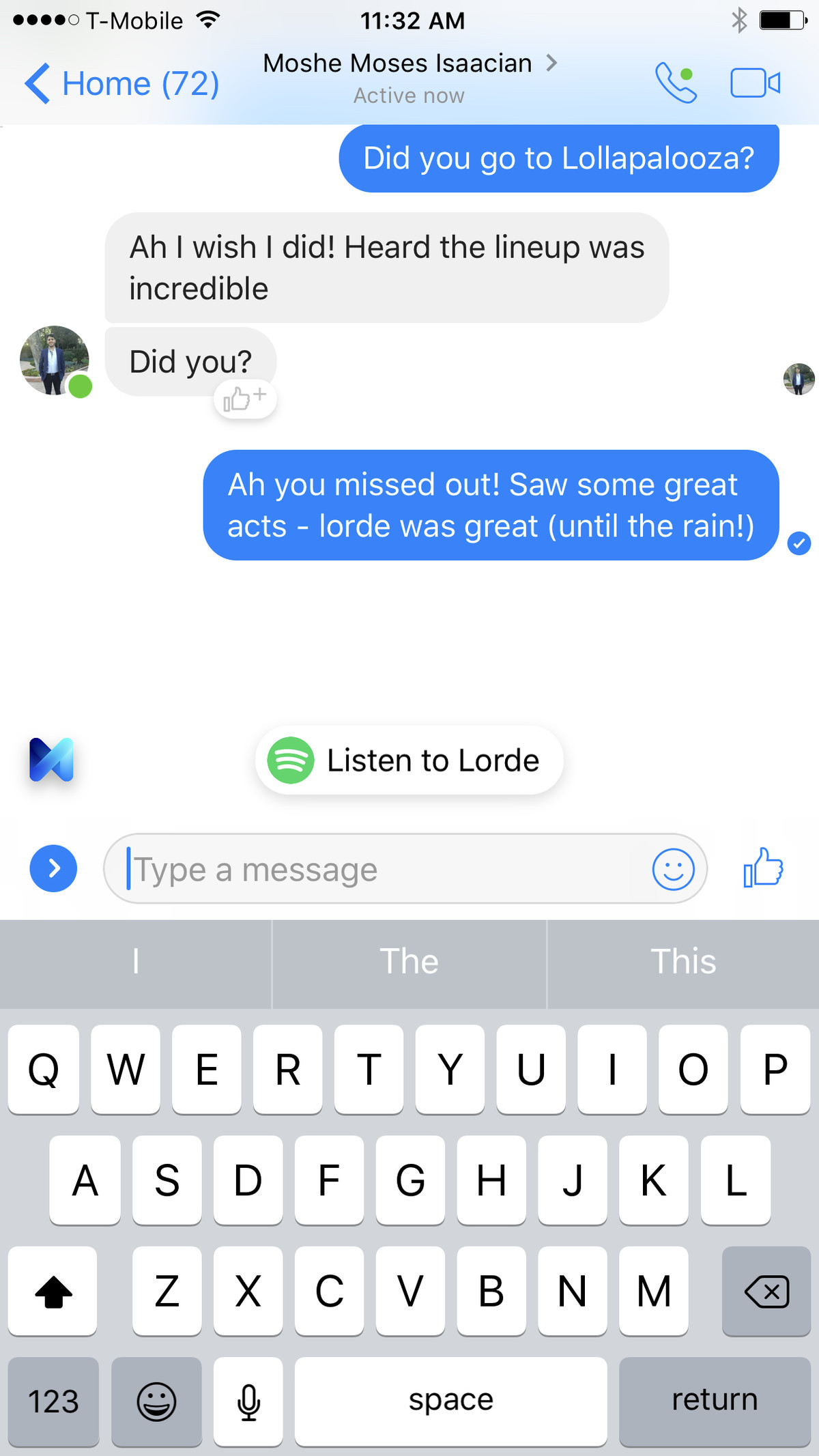 Facebook Messenger now makes Spotify suggestions based on