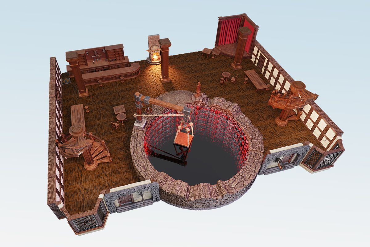 A zoomed in look at the bottom floor, showing the lighted infinity mirror Yawning Portal.