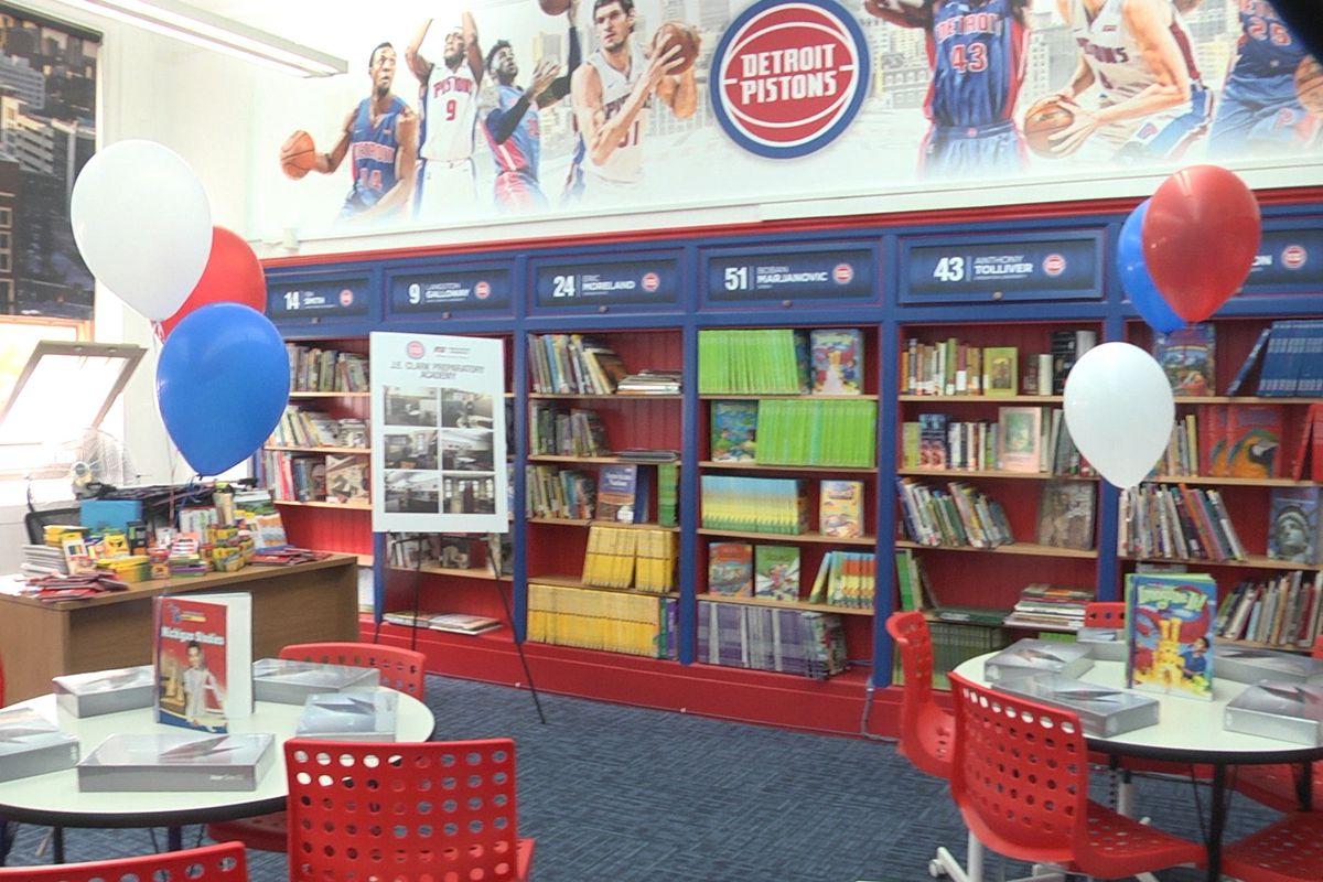 J.E. Clark Preparatory Academy's new basketball-themed library, courtesy of the Detroit Pistons.