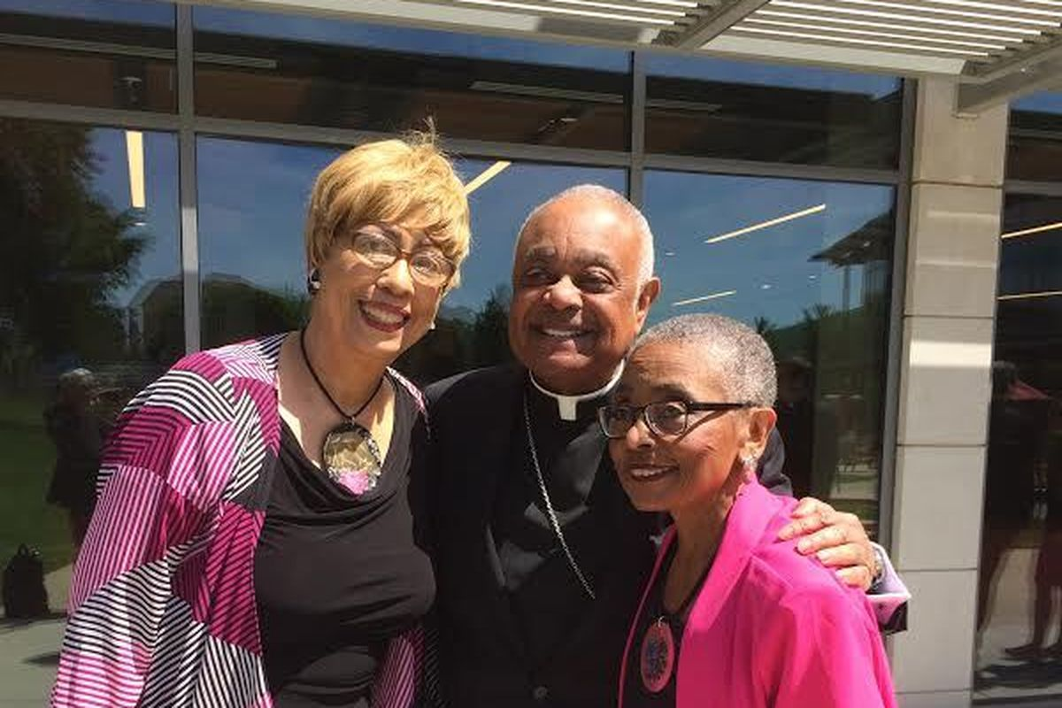 Wilton Gregory with his two sisters, Claudia Ferguson (left) and Elaine Gregory Swenson at his May 21, 2019, installation as archbishop of Washington, D.C., an appointment that also came from Pope Francis.