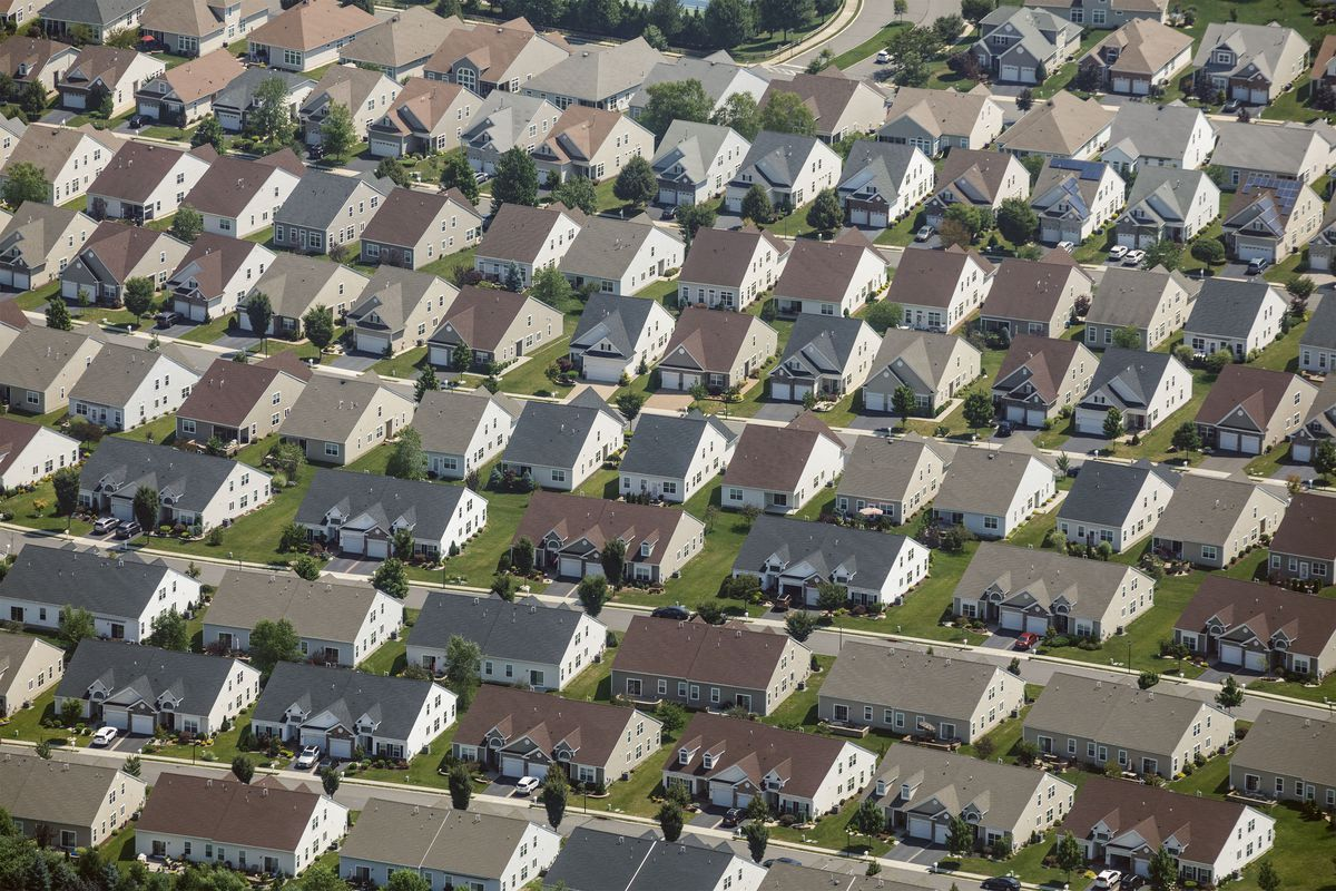 An arial view of single family houses.