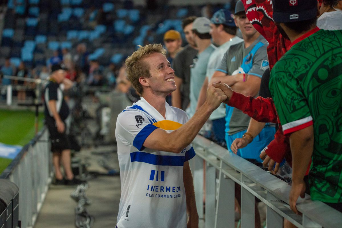 July 3, 2021 - Saint Paul, Minnesota, United States - Minnesota native Jackson Yueill mets with fans after a match at Allianz Field. (Photo byTim McLaughlin)