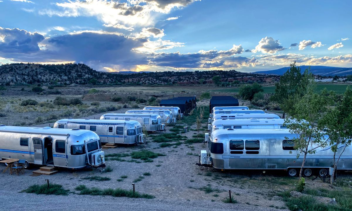 """Ten vintage Airstream trailers provide luxurious """"glamping"""" at Yonder Escalante."""