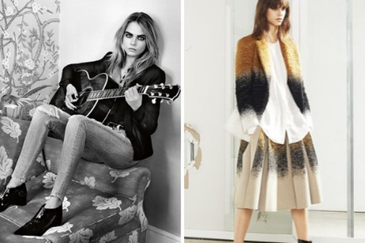 Left, Topshop's fall ad campaign by Alasdair McLellan; Right, 10 Crosby Derek Lam RTW Fall 2014. Both images via WWD