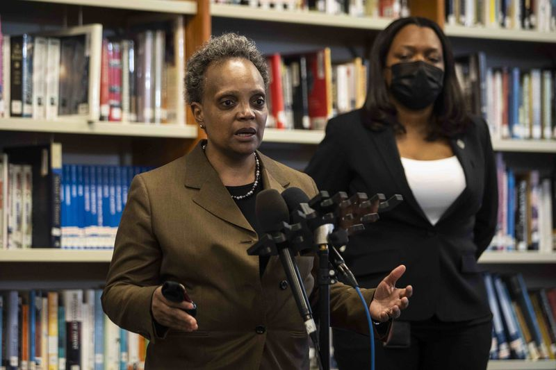 Mayor Lori Lightfoot was at Walter Payton College Preparatory High School on Monday, April 19, 2021 with Chicago Public Schools CEO Janice Jackson. It was the first day in-person learning had resumed at CPS high schools.