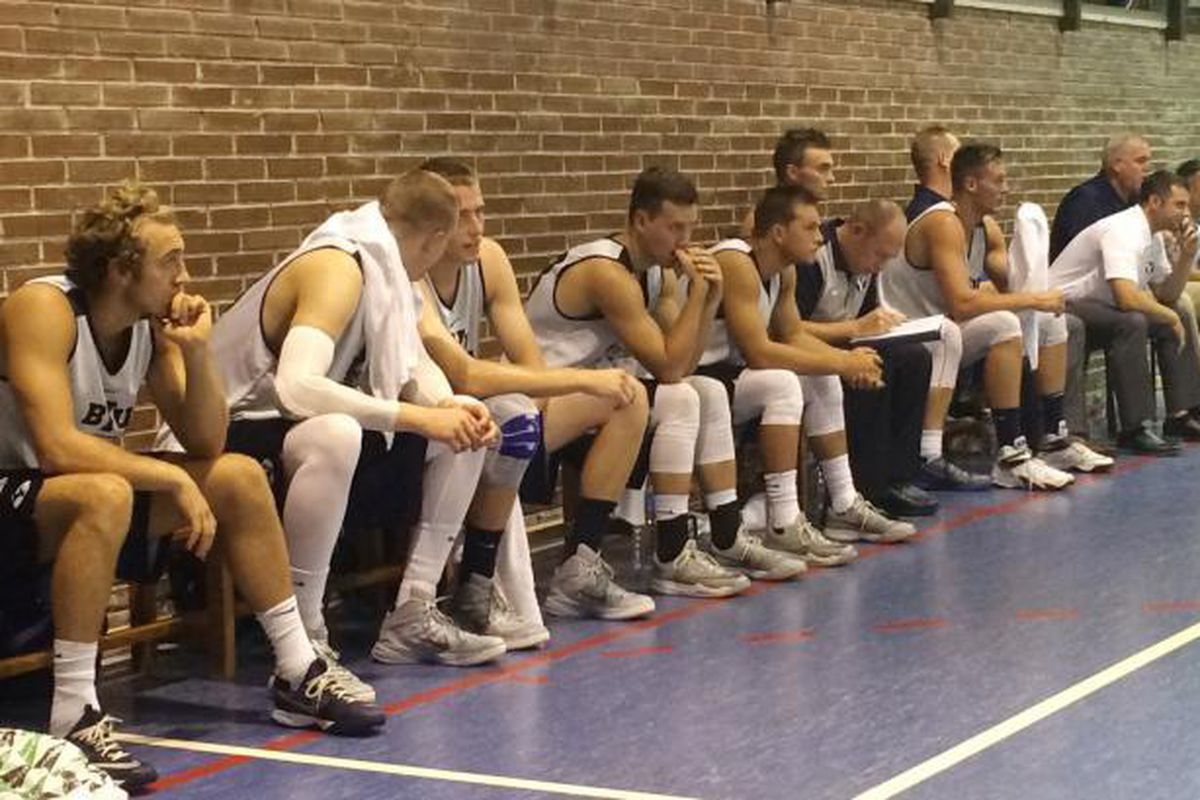 BYU looking super interested in its first game of the Spanish trip against Eurocolegio Casvi.