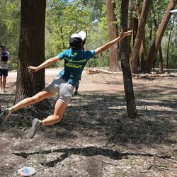 Paige Pierce competes during the Professional Disc Golf World Championships at Fort Buenaventura Park in Ogden on Saturday, June 26, 2021.
