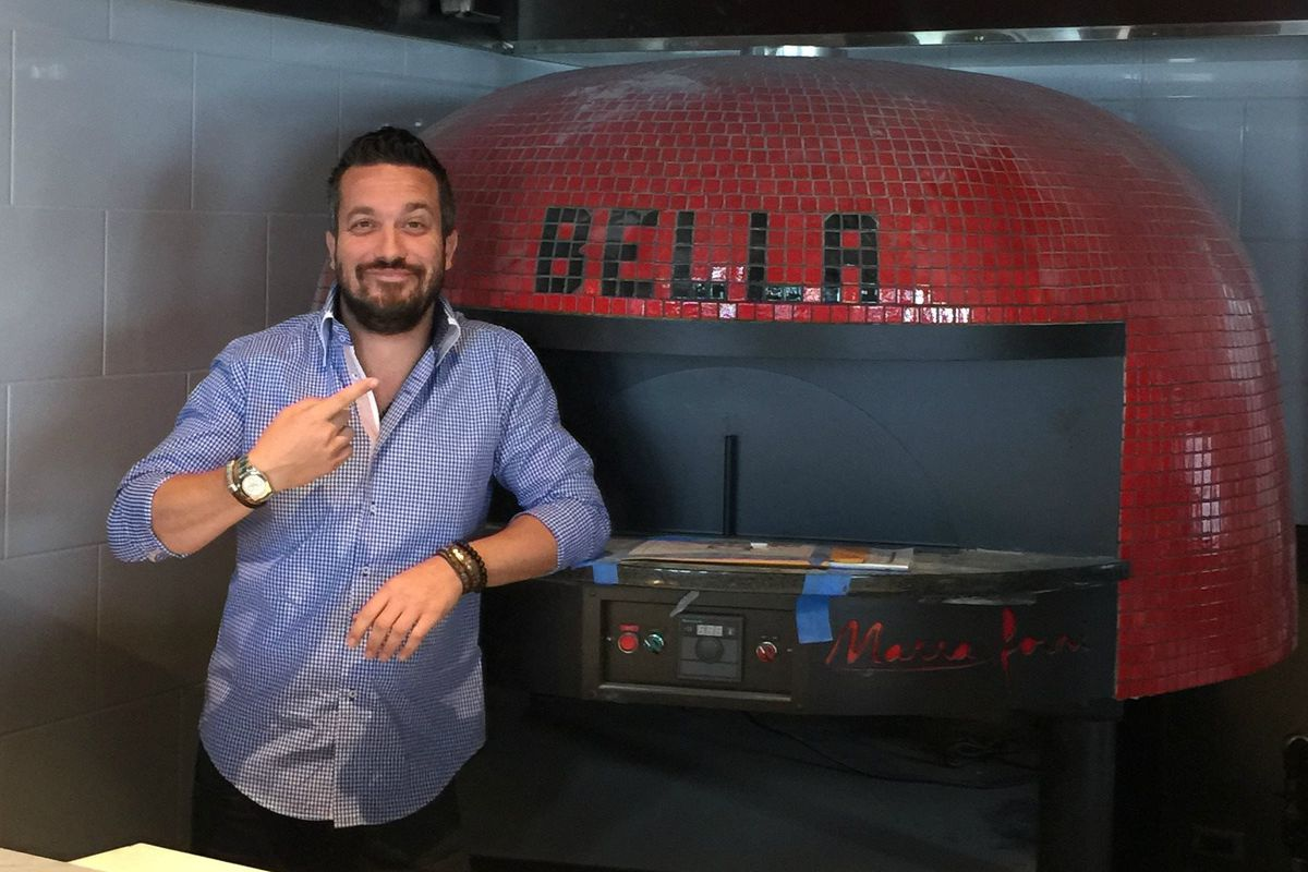 Fabio Viviani and a pizza oven inside Bar Siena