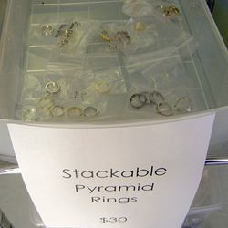 $30 for the stackable pyramid rings. About the smallest, most demure rings of the sale